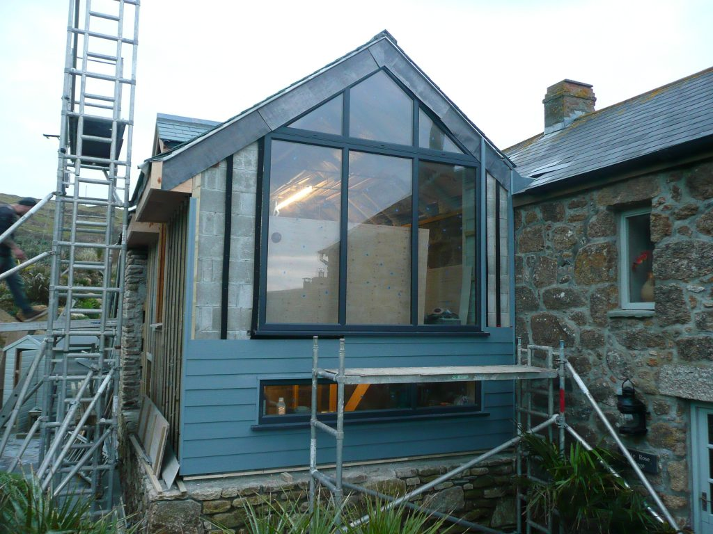 Block built Extension being clad